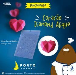 FORMA DE ACETATO APLIQUE CORAÇÃO DIAMOND (451)