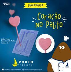 FORMA DE ACETATO COM SILICONE CORAÇÃO NO PALITO (64)