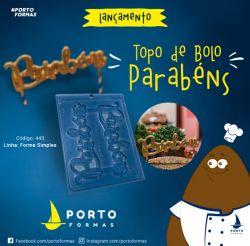 FORMA DE ACETATO TOPO DE BOLO PARABÉNS (443)