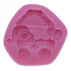 Molde de Silicone Ursinho no Carrinho de Bebê