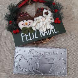 Forma de Acetato Placa de Chocolate Natal Paisagem